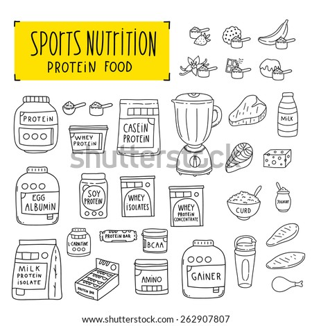Sports nutrition. Bodybuilding and Fitness Supplement doodle objects on white background. Protein food.