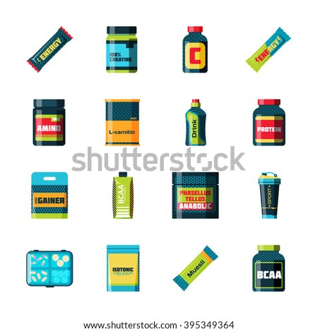 Sports nutrition icons in flat style detailed vector illustration. Sports nutrition healthy food and sports nutrition fitness diet. Sports nutrition bodybuilding proteine power drink. Fresh protein. - stock vector