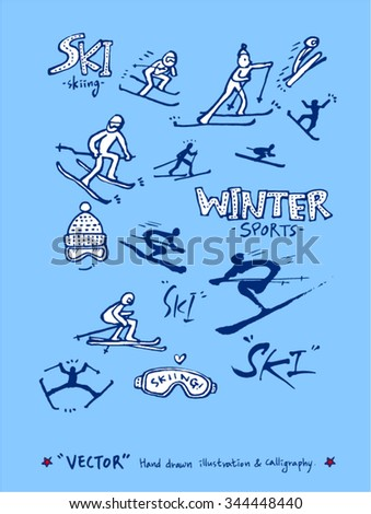Sports poster illustration - hand drawn in vector / sport background