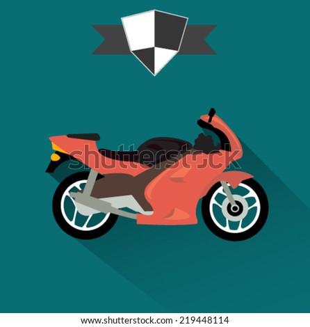 sports racing motorcycle icon - flat design vector - stock vector