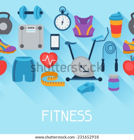 Sports seamless pattern with fitness icons in flat style. - stock vector