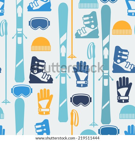 Sports seamless pattern with skiing equipment flat icons. - stock vector