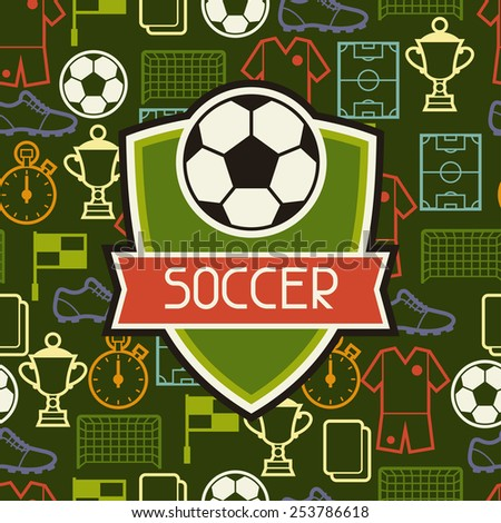 Sports seamless pattern with soccer football symbols in flat style. - stock vector