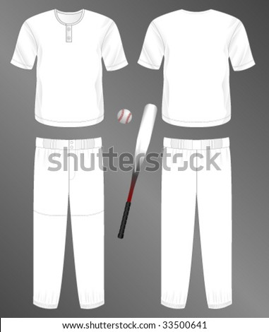 Sports series. Realistic team baseball uniform: pants and  jersey with 2 button neck. Blank template - just add your art. - stock vector