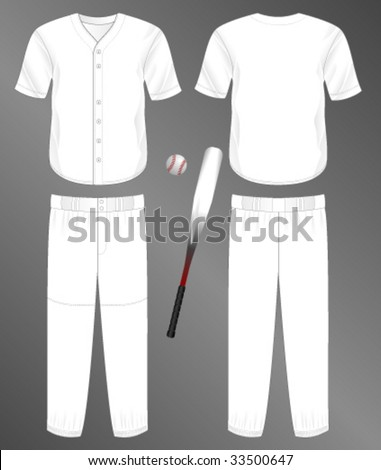 Sports series. Realistic team baseball uniform: pants and split front classic jersey. Blank template - just add your art. - stock vector
