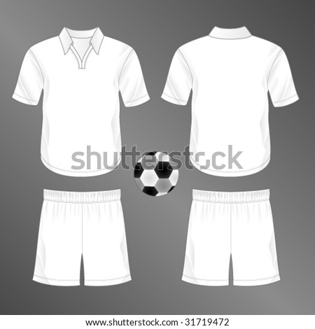 Sports series. Realistic team soccer (European football)  uniform: shorts and jersey with rounded v-neck and collar. Blank template - just add your art. - stock vector