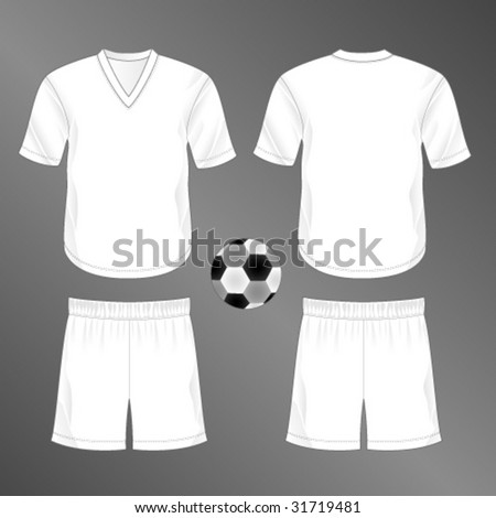 Sports series. Realistic team soccer (European football)  uniform: shorts and jersey with v-neck. Blank template - just add your art. - stock vector