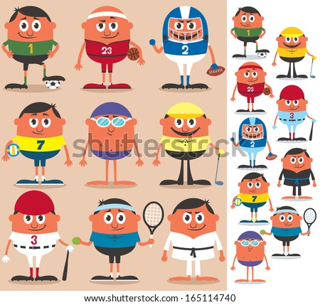 Sports: Set of cartoon characters representing different sports. No transparency and gradients used.  - stock vector
