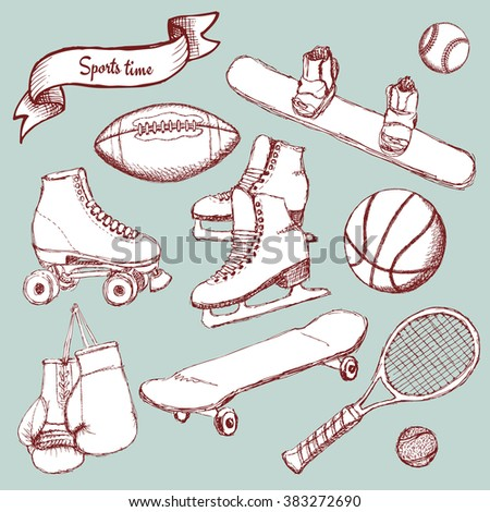 Sports set with balls and equipment in vintage style, vector - stock vector