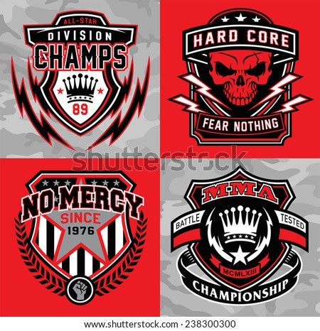Sports shield emblem graphic set - stock vector