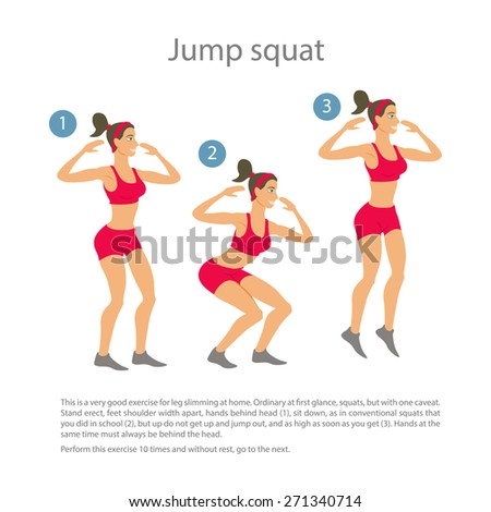 Sports silhouettes. Workout, girl in red shorts and a red shirt doing jump squats Vector yoga illustration. exercises. Women  class, center studio. poster. Sketch asana. Girl Healthy lifestyle. - stock vector