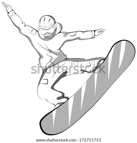 sports snowboarder jumping. Grayscale vector illustration