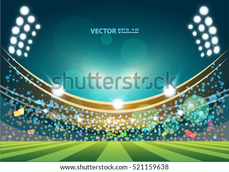 Sports stadium with lights, Vector eps 10