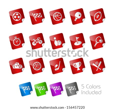 Sports // Stickers Series ---- It includes 5 color versions for each icon in different layers ----- - stock vector