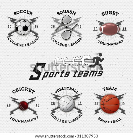 Sports teams badges logos and labels can be used for design, presentations, brochures, flyers, sports equipment, corporate identity, sales - stock vector