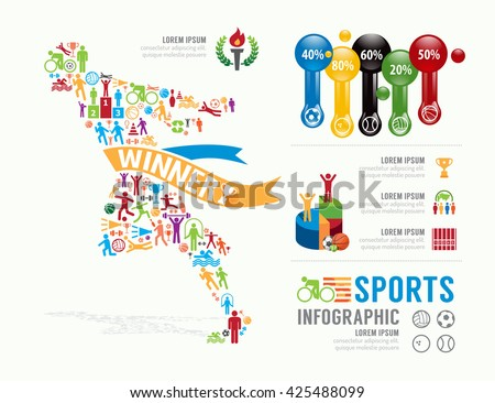 Sports Template Design Infographic Concept Vector Stock ...
