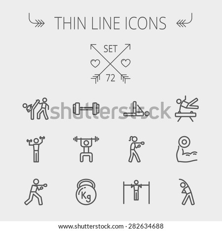 Sports thin line icon set for web and mobile. Set includes- dumbbell, weightlifting, karate, kettlebell, boxing, pull up exercise, gymnast, stretching icons. Modern minimalistic flat design. Vector - stock vector