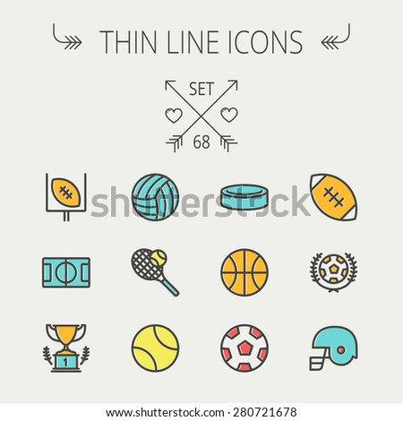 Sports thin line icon set for web and mobile. Set includes - volleyball, basketball, hockey puck, tennis, soccer, football, trophy, helmet  icons. Modern minimalistic flat design. Vector icon with - stock vector
