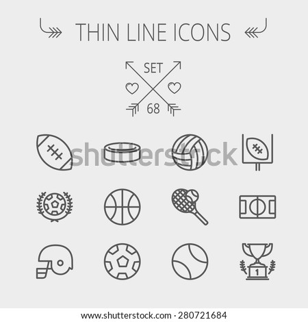 Sports thin line icon set for web and mobile. Set includes- volleyball, basketball, hockey puck, tennis, soccer, football, trophy, helmet icons. Modern minimalistic flat design. Vector dark grey icon - stock vector