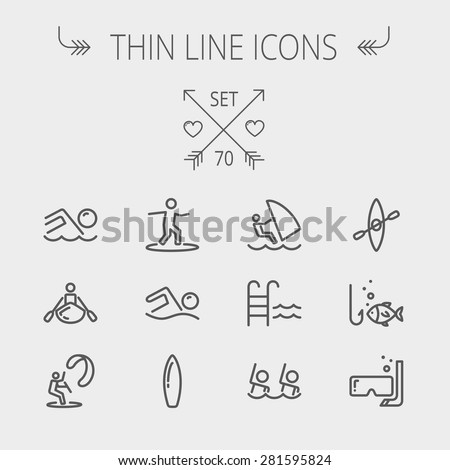 Sports thin line icon set for web and mobile. Set includes- wind surfing, pool, swimming, surfboarding, kayak, wind surf, snorkeling, fishing icons. Modern minimalistic flat design. Vector dark grey - stock vector