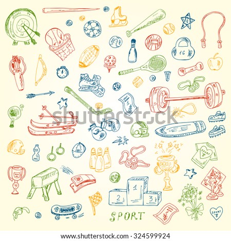 Sports. Vector Set of sports equipment. Hand Drawn Doodles Vector illustration. - stock vector