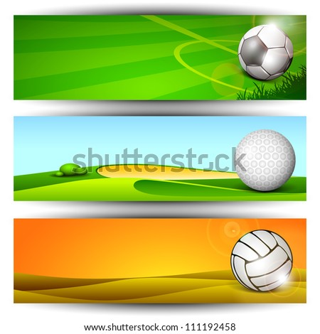 Sports website headers or banners. EPS 10. - stock vector