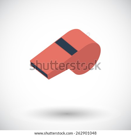 Sports whistle. Single flat icon on white background. Vector illustration. - stock vector