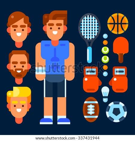Sportsman and his stuff: tennis racquet, basketball ball, tennis ball, table tennis racket, boxing gloves, shuttlecocks, american football ball, football ball. Vector flat isolated objects. - stock vector