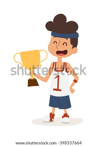 Sportsman boy healthy lifestyle concept and boy sportsman with award. Little boy holding gold winner award. Strong athletic looking boy sportsman kid showing his muscles award character vector. - stock vector