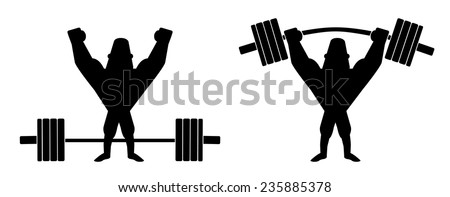 Sportsman lifting heavy barbell. Athlete standing with raised hands. Vector clip art contour lines illustration isolated on white - stock vector
