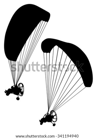 Sportsman on a motorized paraglider on a white background - stock vector