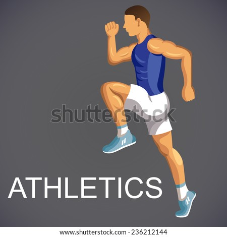Sportsman runs and jumps. Track and field athletics.  High detail vector Illustration