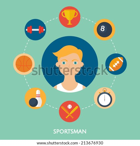 Sportsman, vector character, sport icons. Flat style - stock vector