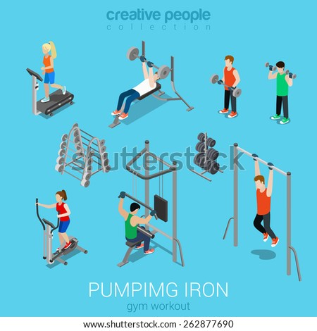 Sportsmen pumping iron gym workout exercise flat 3d web isometric infographic vector. Icon set of running treadmill horizontal bar dumbbells elliptical trainer. Creative people collection. - stock vector