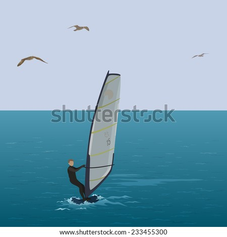 Sportsmen surfer sail in the blue sea, in the sky flying seagull. Eps10, contains transparencies. Vector - stock vector