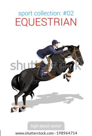 Sportsmen vector collection. Equestrian horseback rider. Sportsman high detail illustration. - stock vector