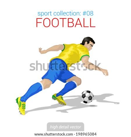 Sportsmen vector collection. Football player forward offense. Sportsman high detail illustration. - stock vector