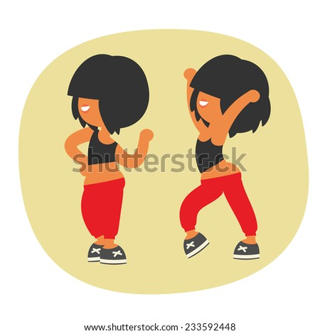 Sporty dancing beautiful teenager girl character with black color short hairstyle, in red sports pants. Without outline cartoon flat style, vector illustration.  - stock vector