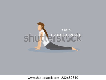 Sporty women in yoga cobra pose with chest lifted and hands and lower body on the floor. Vector illustration isolated on plain grey background - stock vector