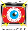 Spot illustration of a television set with a blood veined eye on the screen. - stock photo