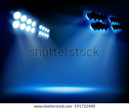 Spot lighting on the stage. Vector illustration. - stock vector