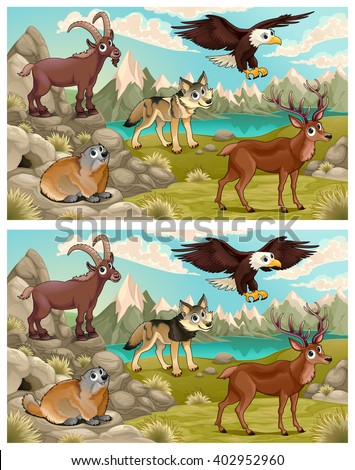 Spot the differences. Five changes between them - stock vector