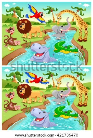 Spot the differences. Two images with six changes. Vector cartoon illustration.  - stock vector