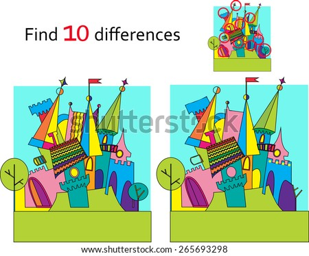 Spot the differences. Two images with ten changes between Fairy tale castle  vector and cartoon illustrations