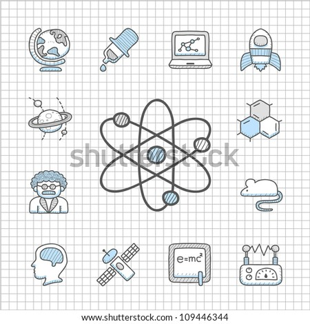 Spotless Series   Hand drawn Science icon set - stock vector