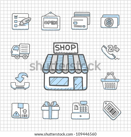 Spotless Series | Hand drawn shopping icon set - stock vector