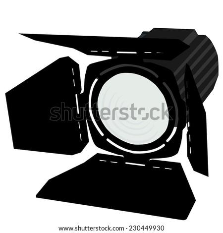 Spotlight, black spotlights, spotlights icon, stage lights - stock vector