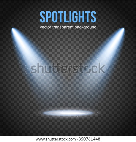 Spotlight isolated vector. Scene illumination.  Transparent effects on a plaid dark background. Bright lighting with spotlights. Light Effects. Vector spotlight. Stage lights. - stock vector
