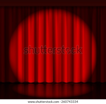 Spotlight on stage curtain. Event and show, fabric and entertainment. Vector illustration - stock vector