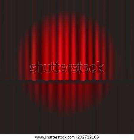 Spotlight on stage curtain. Vector. - stock vector